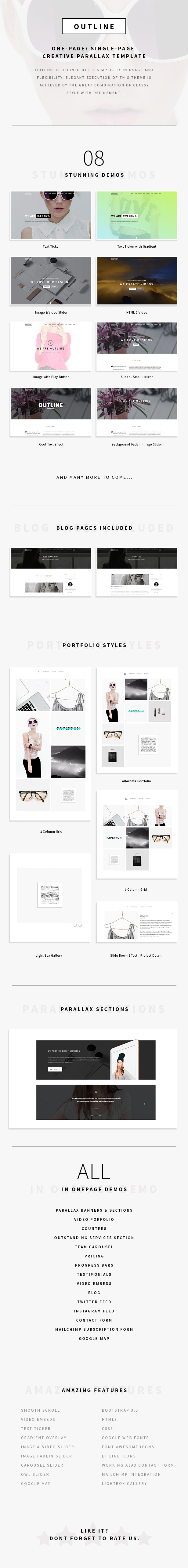 Outline – Creative One Page/Single Page Portfolio